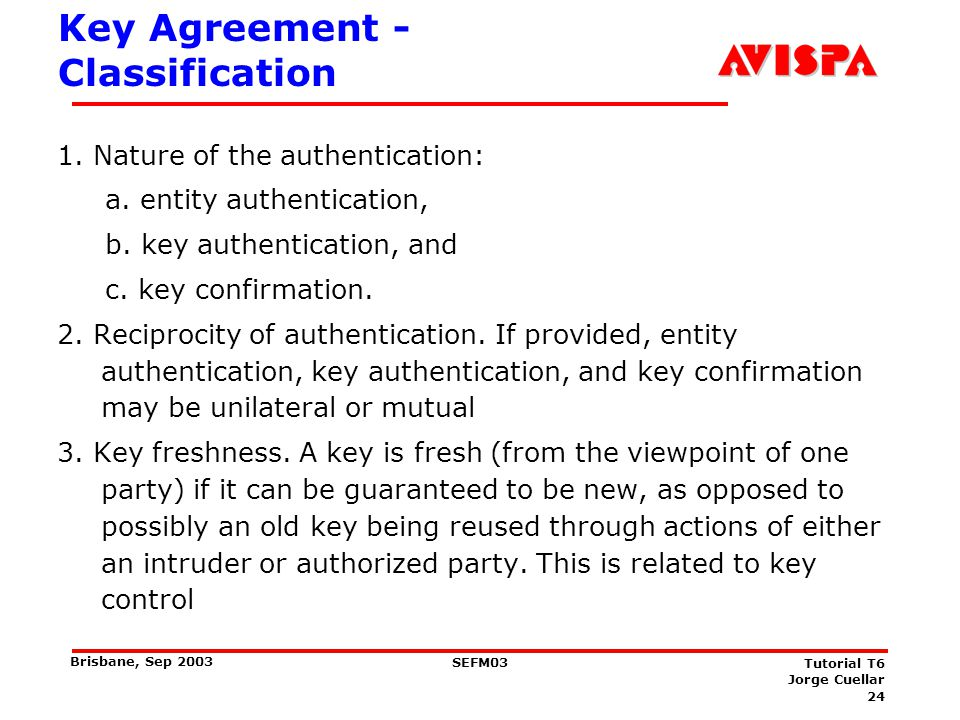 Key Agreement - Classification