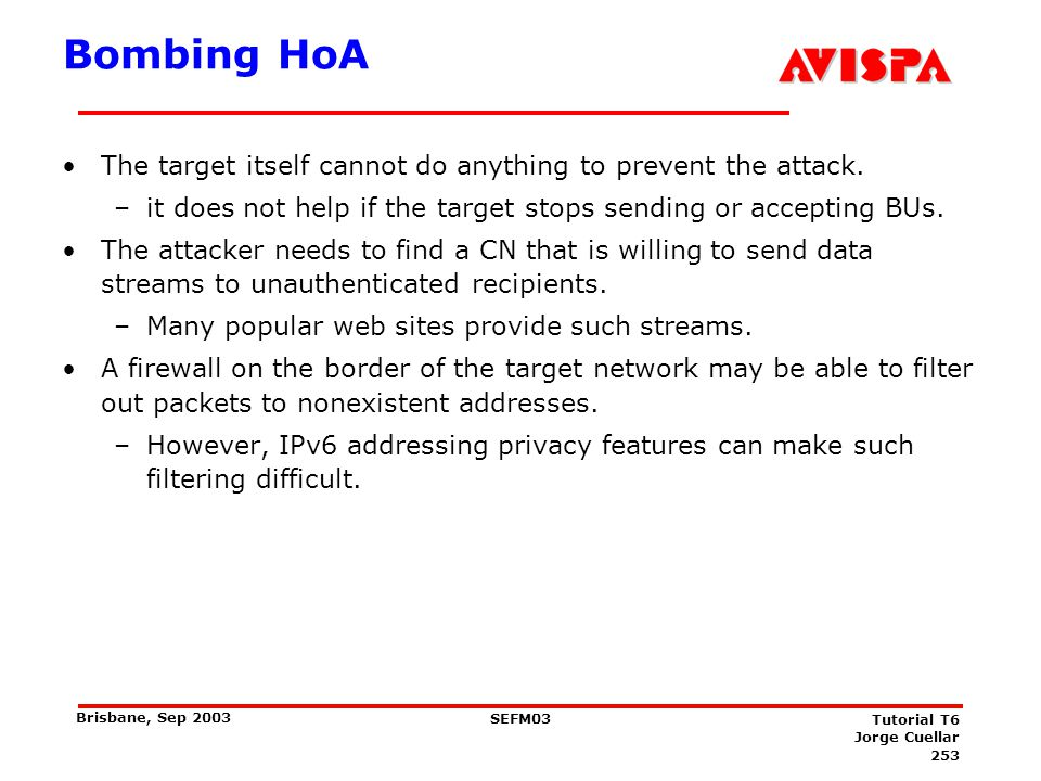 Limiting bombing attacks: Return Routability