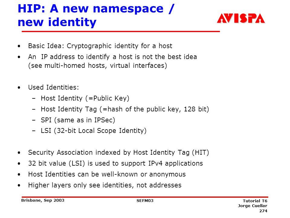 HIP Architecture An additional Identifier