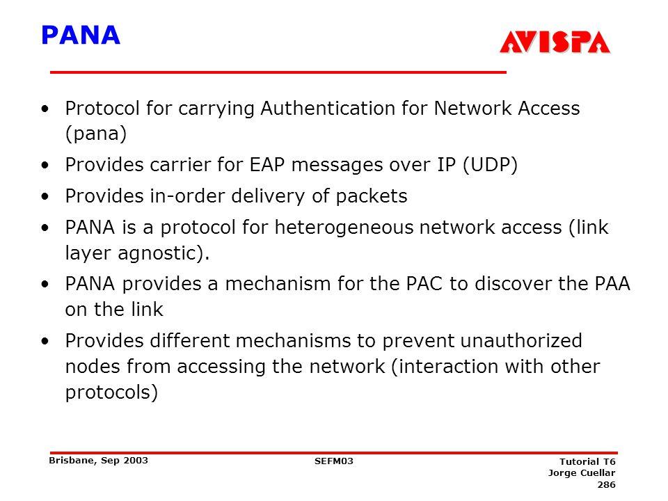 Access control SA establishment Protected PANA Messages