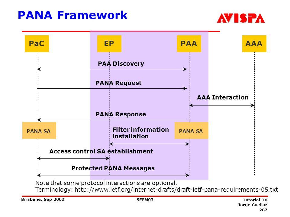 PANA Security Association Establishment