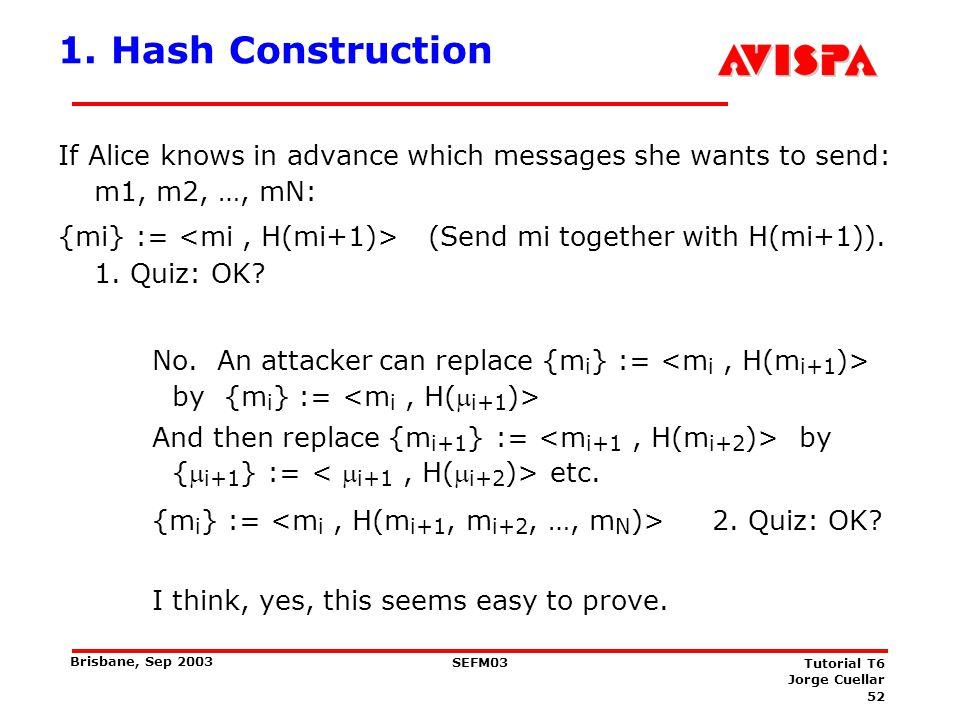 2. Hash Construction Alice chooses a hash sequence: h1= H(h2)= H(H(h3))= Hi(hi+1) =.. = HN-1(hN):