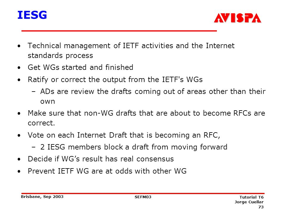 IETF Current Areas Applications (APP) - Protocols seen by user programs, such as e-mail and the Web.