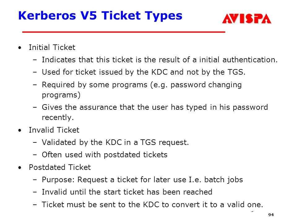 Kerberos V5 Ticket Types