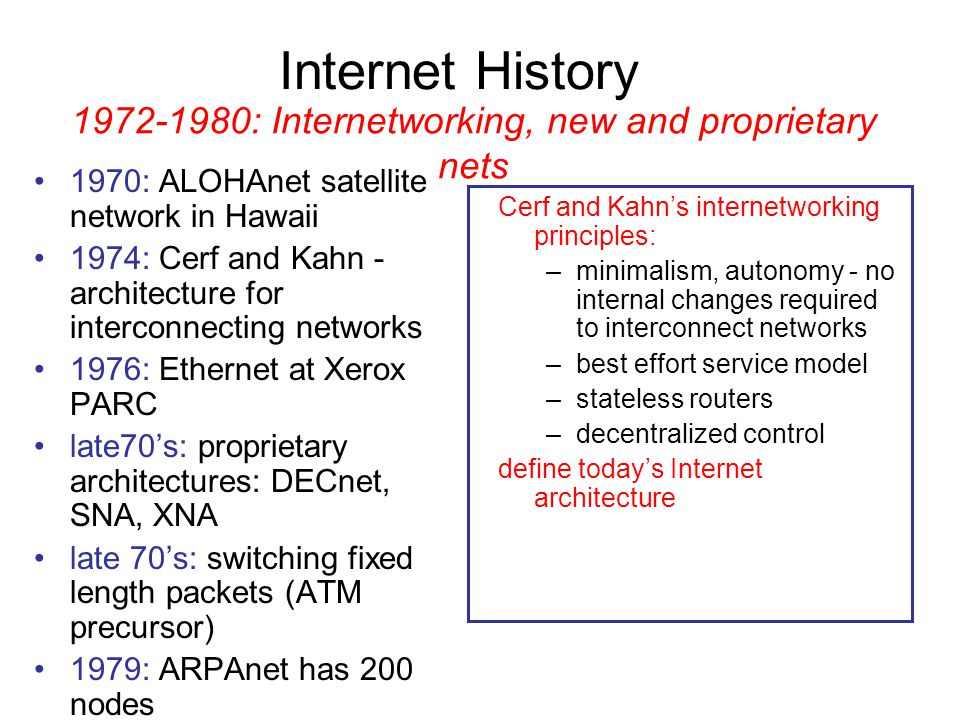 1972-1980: Internetworking, new and proprietary nets