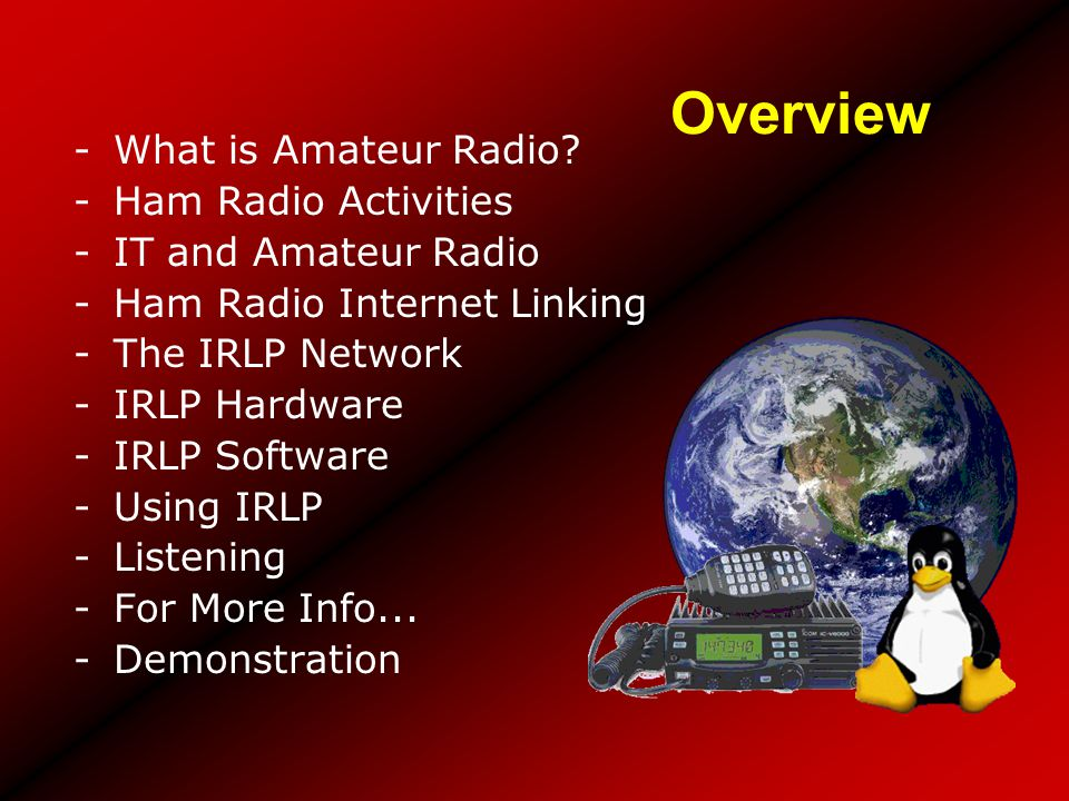 Overview What is Amateur Radio Ham Radio Activities