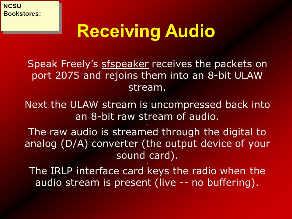 NCSU Bookstores: Receiving Audio. Speak Freely's sfspeaker receives the packets on port 2075 and rejoins them into an 8-bit ULAW stream.