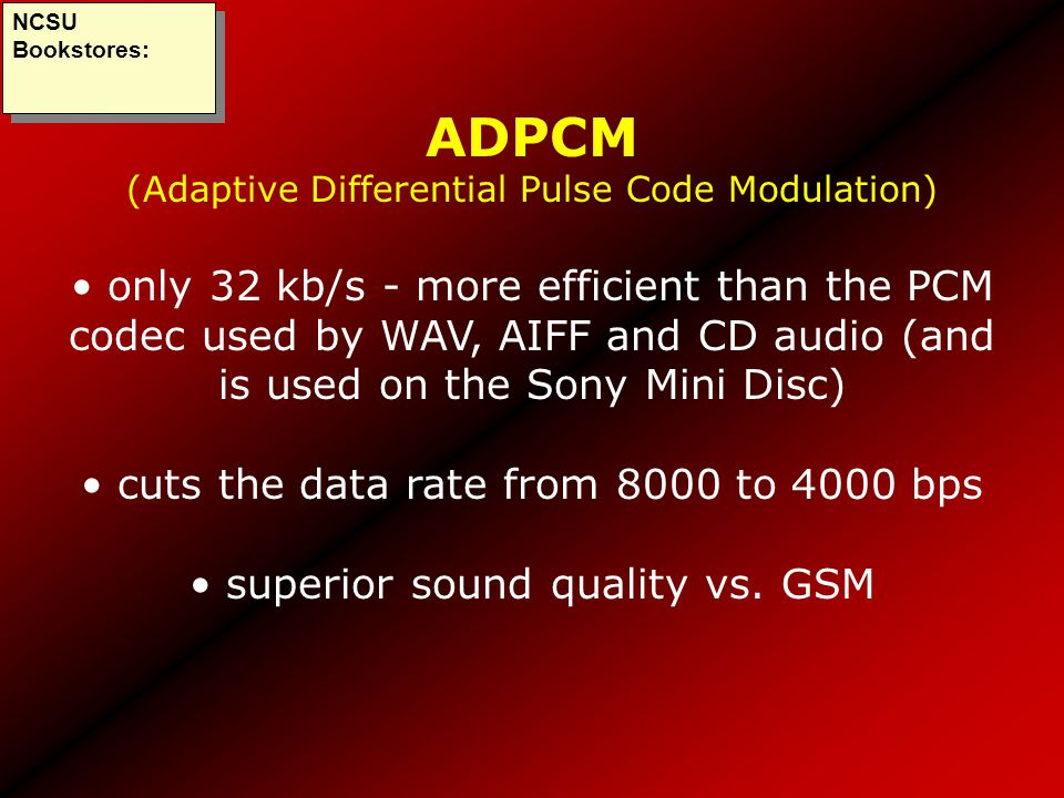 ADPCM (Adaptive Differential Pulse Code Modulation)