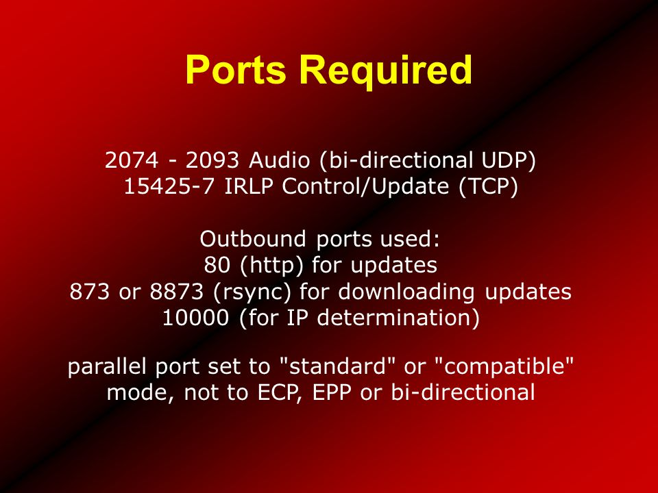 Ports Required 2074 - 2093 Audio (bi-directional UDP)