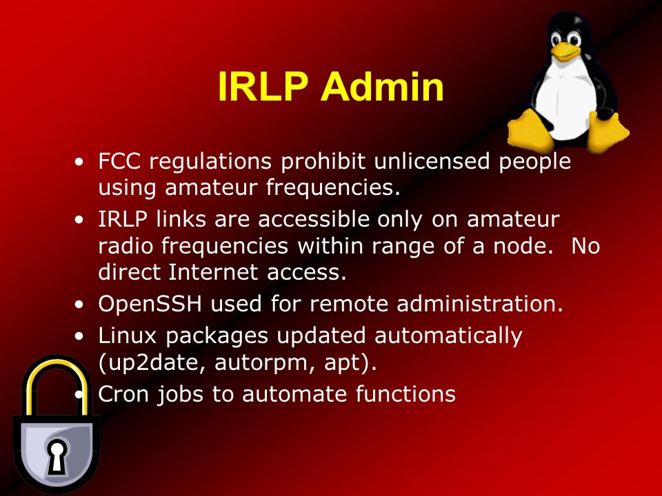 IRLP Admin FCC regulations prohibit unlicensed people using amateur frequencies.