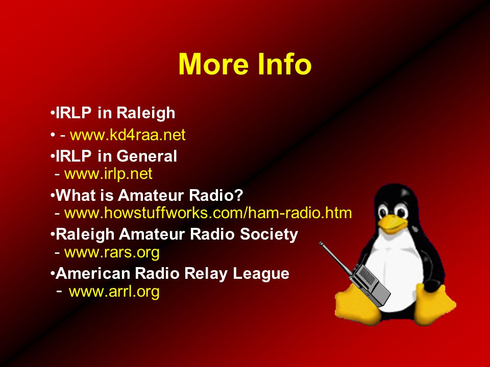 More Info IRLP in Raleigh - www.kd4raa.net