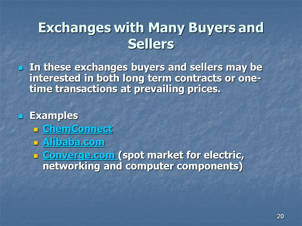 Exchanges with Many Buyers and Sellers