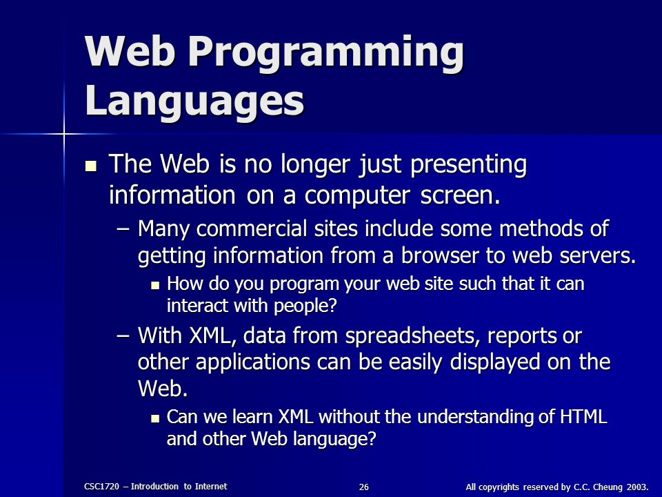 Web Programming Languages