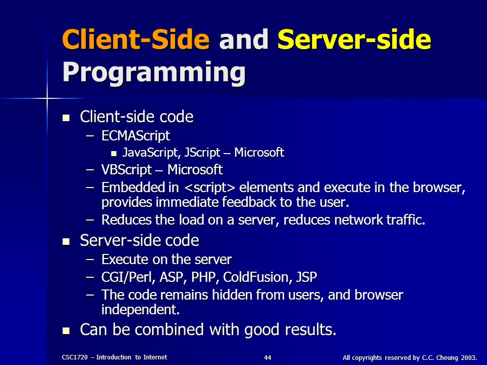 Client-Side and Server-side Programming
