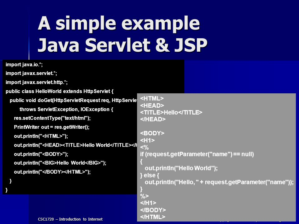A simple example Java Servlet & JSP