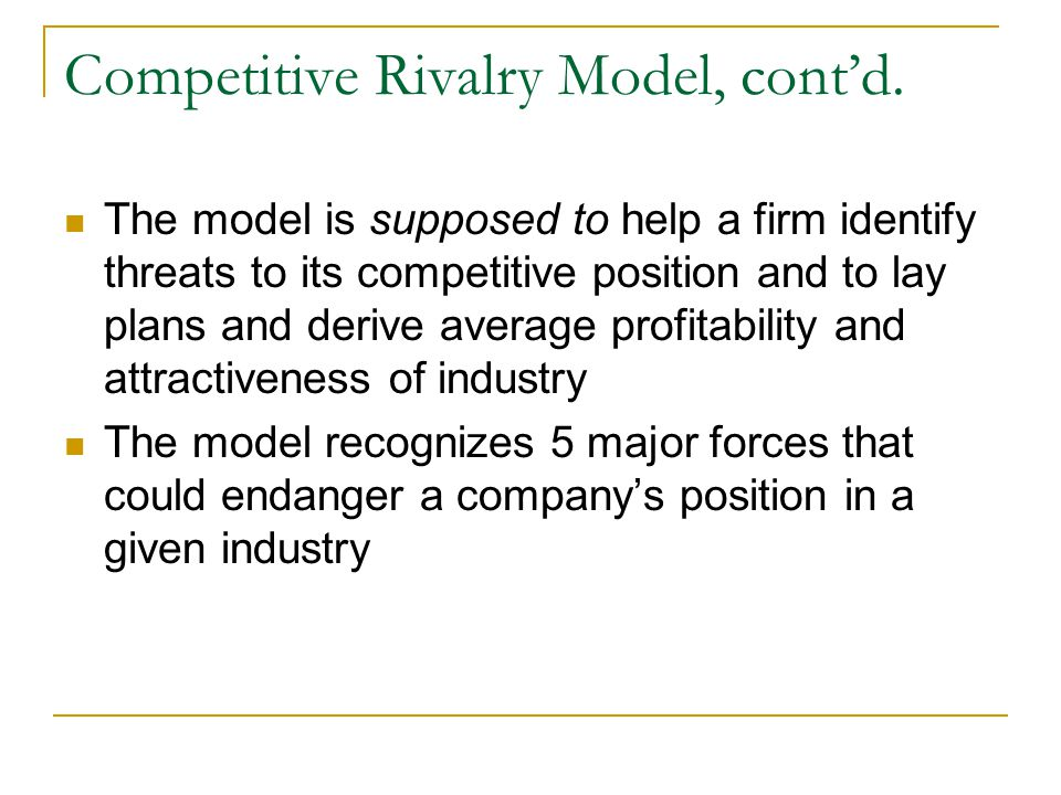Competitive Rivalry Model, cont'd.