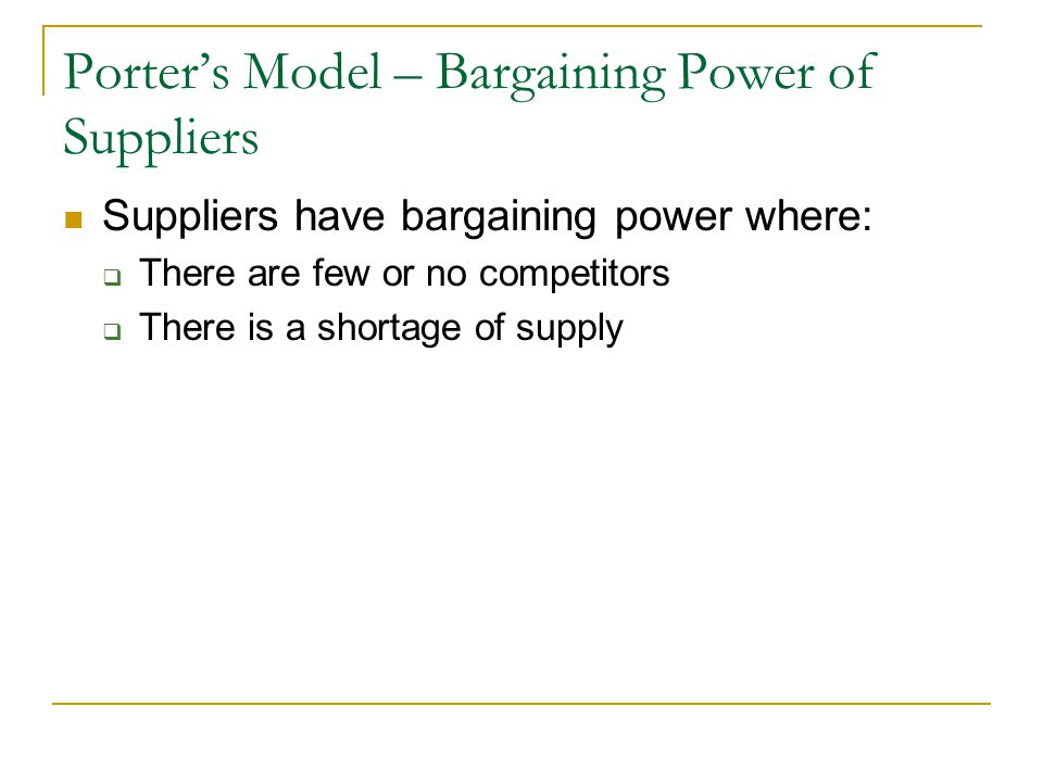 Porter's Model – Bargaining Power of Suppliers
