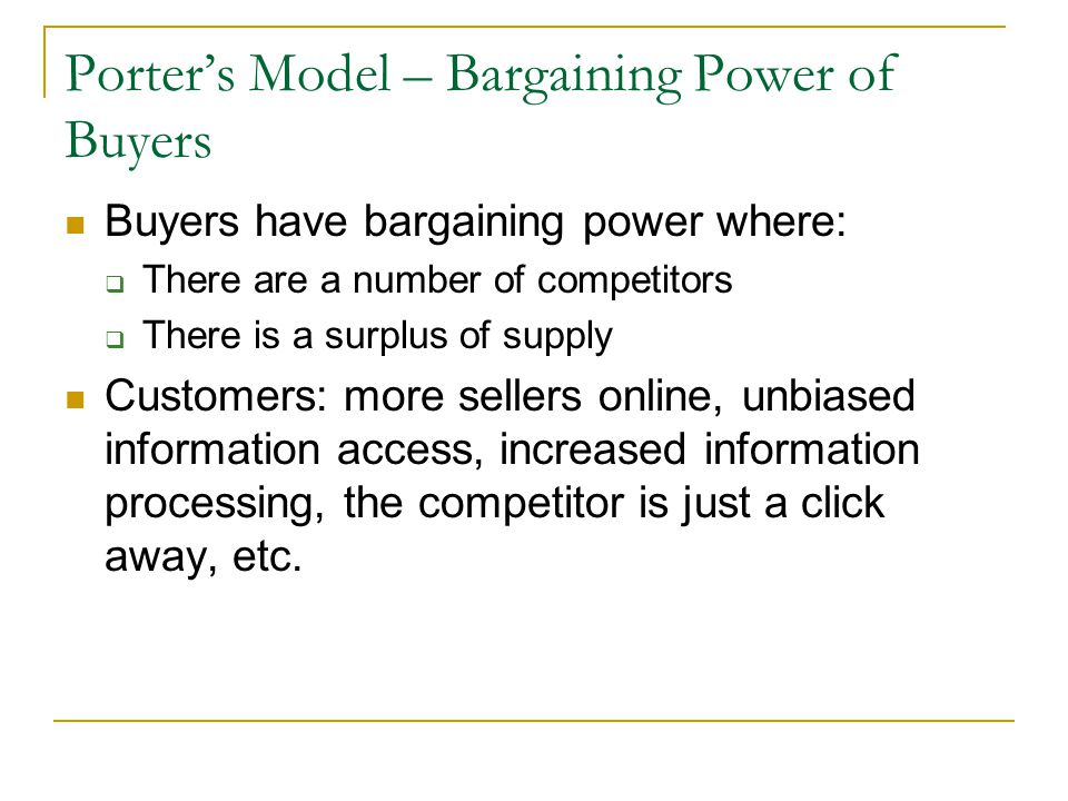 Porter's Model – Bargaining Power of Buyers