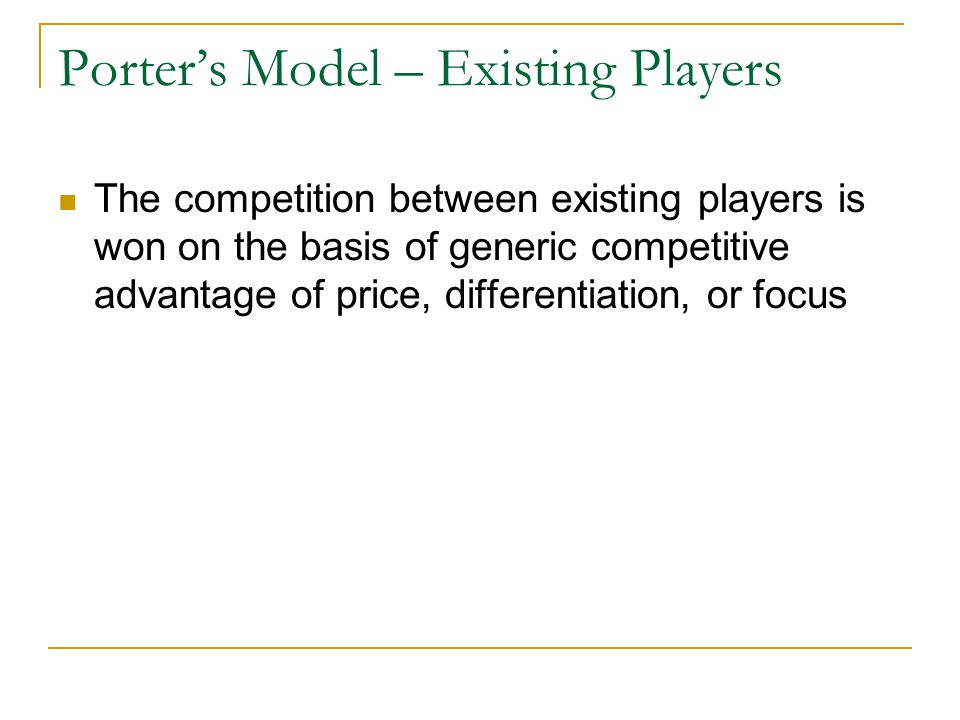 Porter's Model – Existing Players