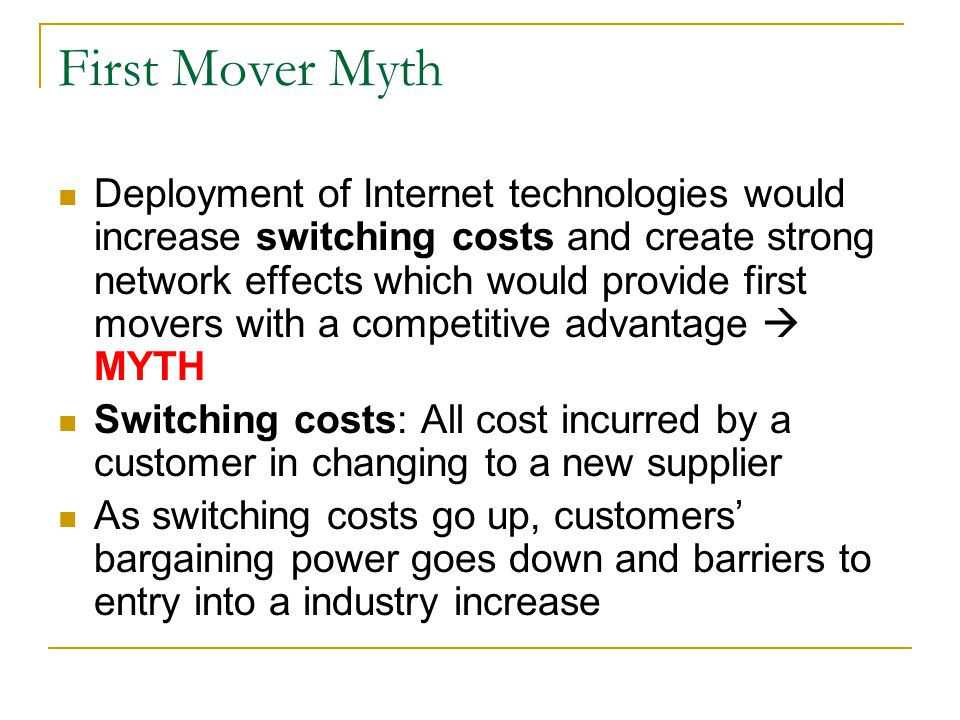 First Mover Myth