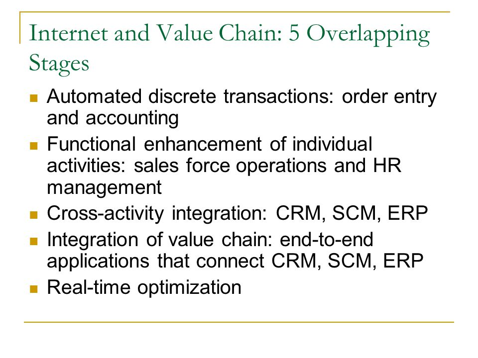 Internet and Value Chain: 5 Overlapping Stages