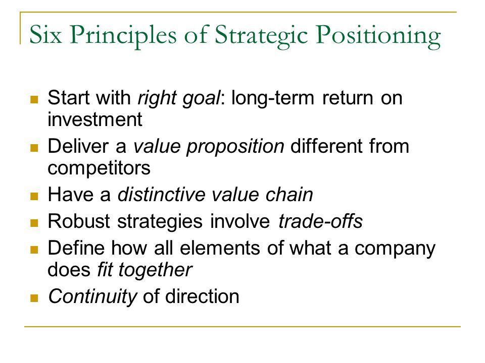 Six Principles of Strategic Positioning