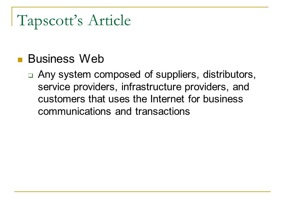 Tapscott's Article Business Web