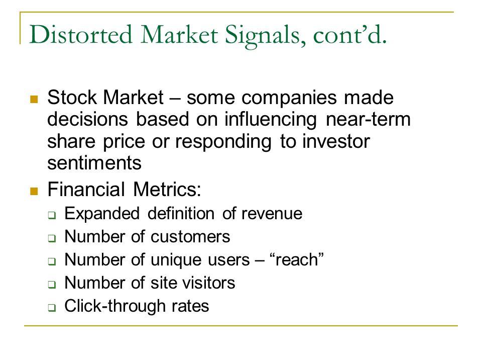 Distorted Market Signals, cont'd.