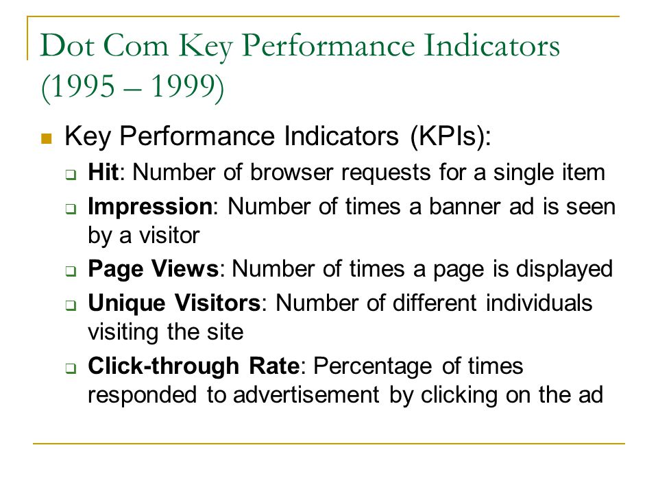 Dot Com Key Performance Indicators (1995 – 1999)