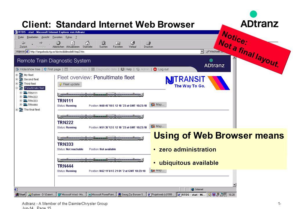 Client: Standard Internet Web Browser