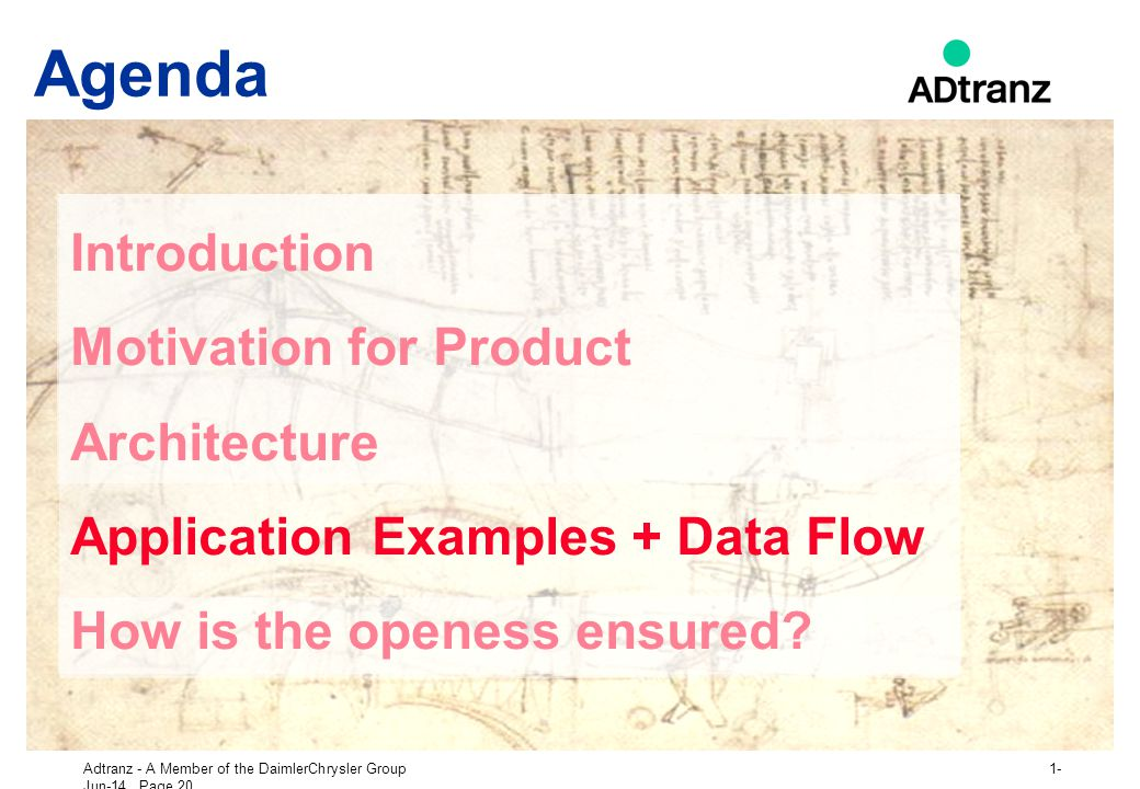 Agenda Introduction Motivation for Product Architecture