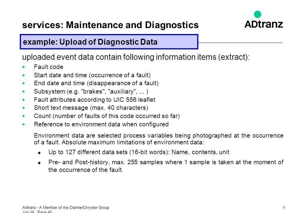services: Maintenance and Diagnostics