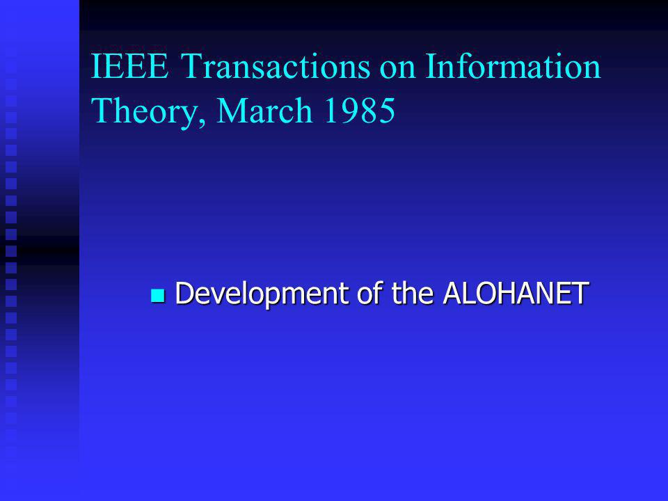 IEEE Transactions on Information Theory, March 1985