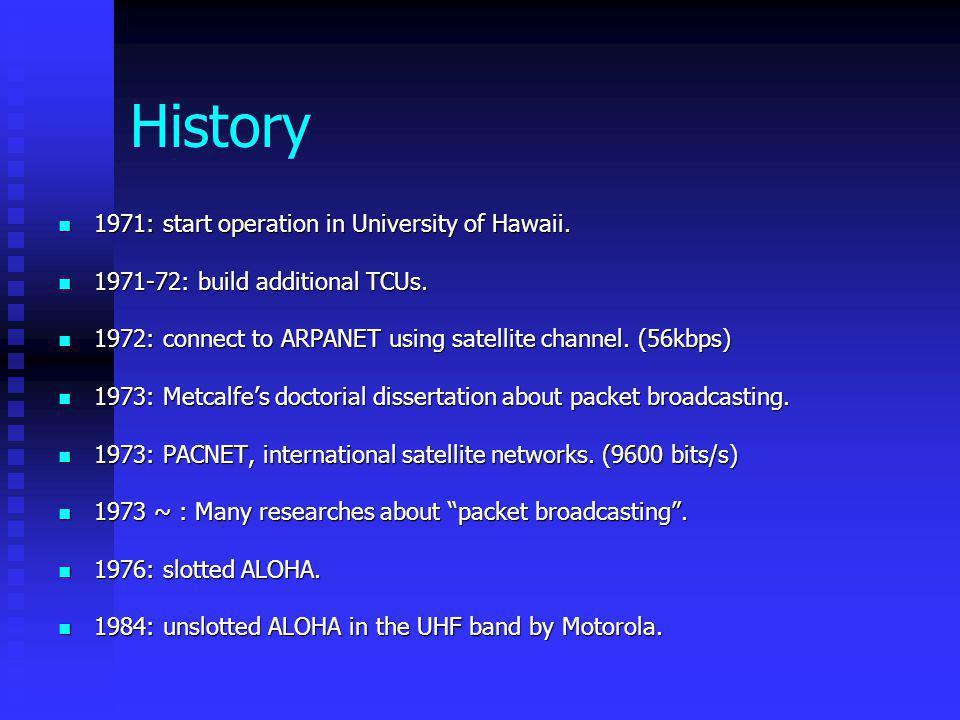 History 1971: start operation in University of Hawaii.