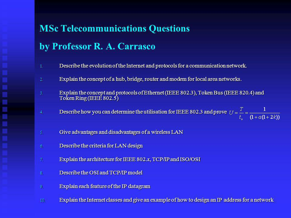 MSc Telecommunications Questions by Professor R. A. Carrasco