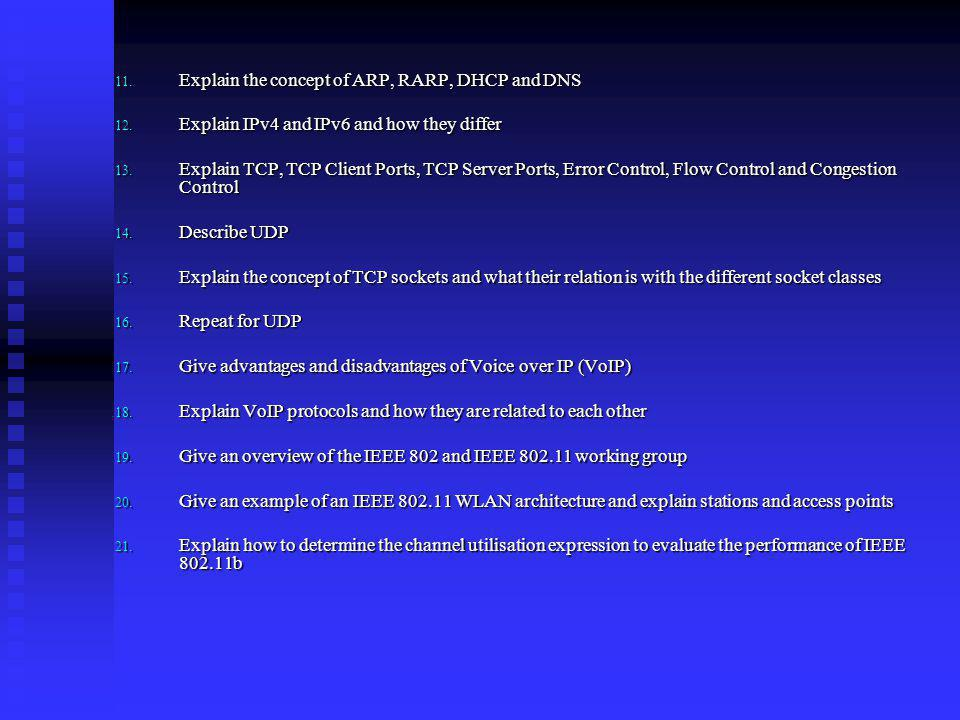 Explain the concept of ARP, RARP, DHCP and DNS