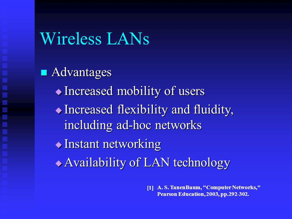 Wireless LANs Advantages Increased mobility of users