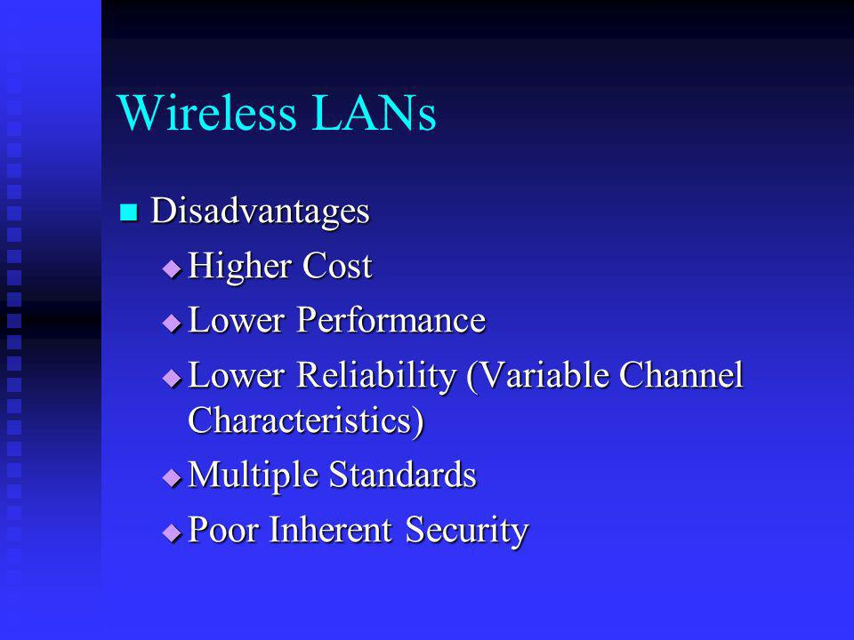 Wireless LANs Disadvantages Higher Cost Lower Performance