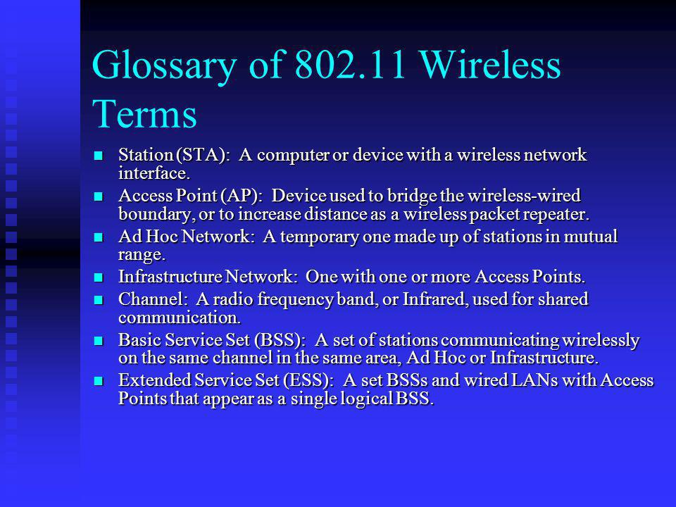 Glossary of 802.11 Wireless Terms