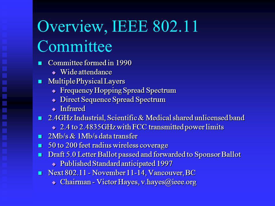 Overview, IEEE 802.11 Committee