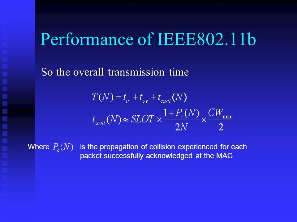 Performance of IEEE802.11b So the overall transmission time Where