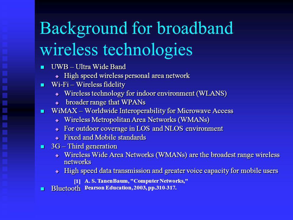 Background for broadband wireless technologies