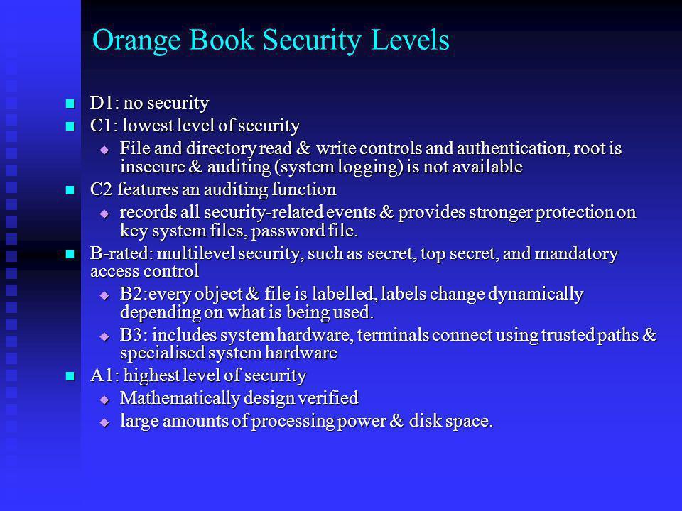 Orange Book Security Levels