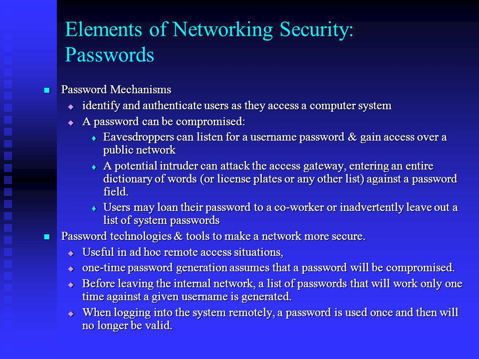 Elements of Networking Security: Passwords