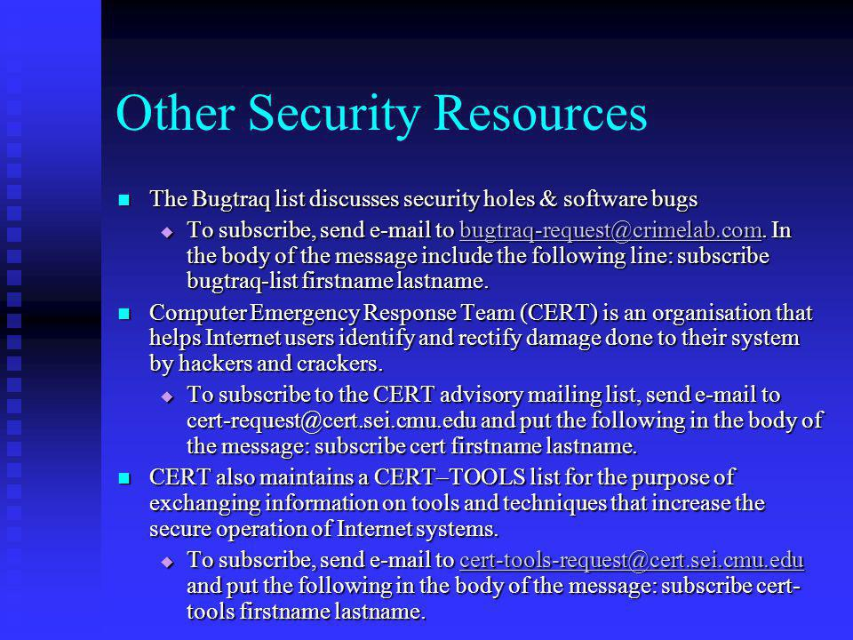 Other Security Resources
