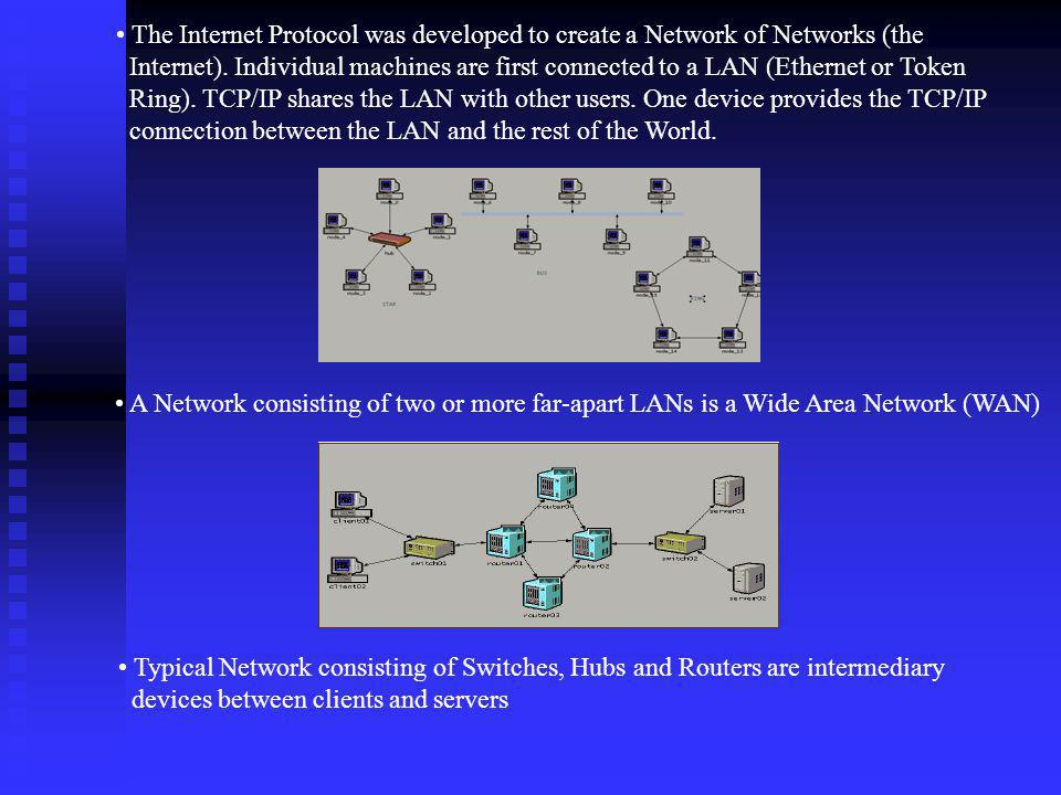 The Internet Protocol was developed to create a Network of Networks (the