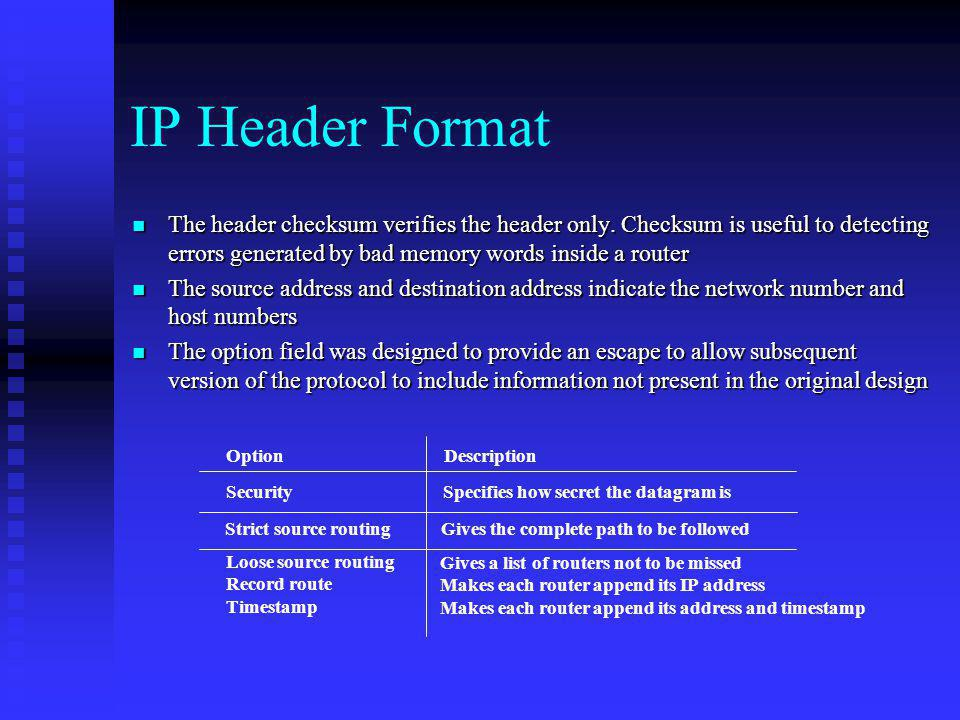 IP Header Format The header checksum verifies the header only. Checksum is useful to detecting errors generated by bad memory words inside a router.
