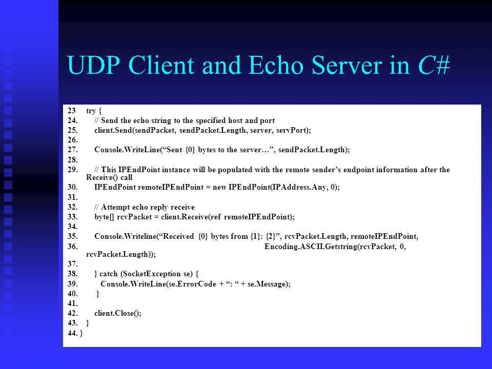 UDP Client and Echo Server in C#