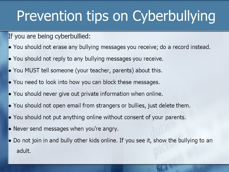 Prevention tips on Cyberbullying