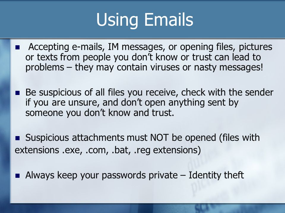 Using Emails Using Email